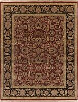 Agra Area Rug Wool Hand-Knotted Oriental All-Over Floral Carpet 8 x 10 BURGUNDY