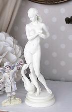 Vintage Figura femminile Leda Cigno Scultura erotico Dea Bianco Nudo