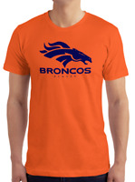 Denver Broncos Orange T-Shirt NAVY Graphic Cotton Adult Logo  S-2XL