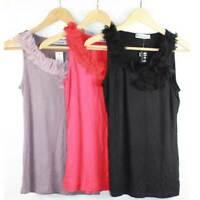Ruffle Top by ELEGANT Size 12 14 16 Tank Blouse Women Black Red Mocha Brown
