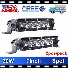 Single Row 7inch 30W Cree Led Light Bar Slim Offroad SPOT Driving 4WD Boat PRTY