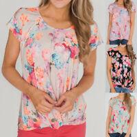 Women's Ladies Flower Print T-Shirt Short Sleeve Round Neck Casual Top Blouse US