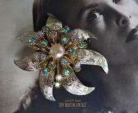 VINTAGE 50s AURORA BOREALIS RHINESTONE PEARL ARTICULATED BROOCH PIN BRIDAL GIFT