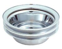 Spectre 4438 Chrome Crank Pulley Dual Groove LWP Small Block Chevy 1968-1985