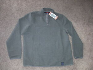 GERRY dark olive snap button neck athletic PULLOVER WARM UP 2XL NEW with TAGS