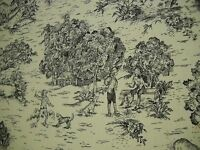 "ONE YD TOILE COUNTRY LIFE PICTORIAL Drapery FABRIC Black cream 55"" x 36"" BTY"