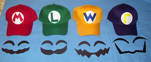 Handmade Super MARIO LUIGI WARIO WALUIGI Costume Face Pieces & Hats w/ Emblems