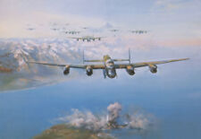 Frank Wootton RAF Lancaster print The Sinking of the Tirpitz signed by 5 crew