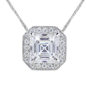 2.76 Ct Asscher Cut Near White Moissanite Only Pendant 925 Sterling Silver