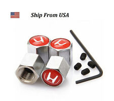 Honda Civic Emblem Red Logo Anti Theft Car Tire Valve Stem Caps Set