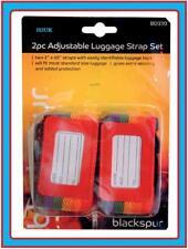 2 PIECE ADJUSTABLE BAG LUGGAGE STRAP BELT SET & TAGS LABEL SUITCASE TRAVEL BD330