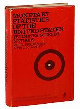 MILTON FRIEDMAN Monetary Statistics of the United States  First Edition 1970 1st