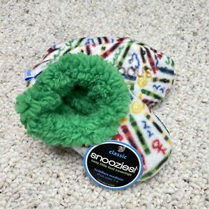 Snoozies Toddler Slippers sz M Green White Crayons Sherpa Lined Non Slip New