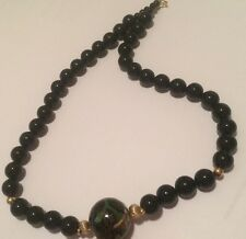 "Vnt Black Onyx Strand NECKLACE WITH 4 Gold Tone 1 Cloisonne Beads 17-3/4"" long*"