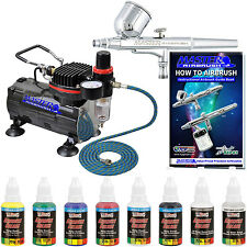 Gravity Feed Dual-Action Airbrush & Compressor Set, 6 Color Opaque Art Paint Kit