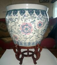Vintage Chinese Export Hand Painted Porcelain Fish Bowl Huge Pot Planter & Stand