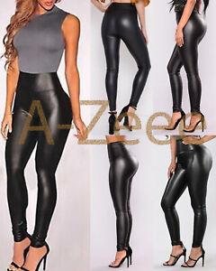 Womens Ladies Skinny Faux Leather High Waist PU Leggings Wet Look Stretch Pants