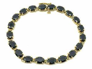 """14k Yellow Gold Oval Black Onyx Bracelet 6.75"""" 20 pcs Onyx"""