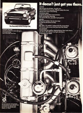 """1974 Triumph TR6 Convertible & Engine photo """"Gets You There"""" vintage print ad"""