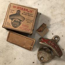 Antique 1920's Starr X Lucky Lager Beer Advertising Wall Mount Bottle Opener
