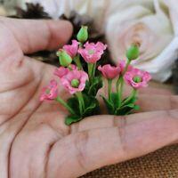 Pink Flower Bouquet 3 Bunches Morning Glory Flower Miniature Dollhouse Decor