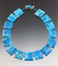 Lace Agate Tile Necklace- Last One Sale - Bess Heitner Turquoise Crazy