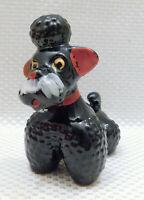 """Vintage 50s Black Hobnail Poodle Dog Sitting 4½"""" Glazed Ceramic Figurine"""