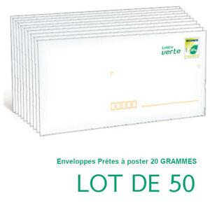 Enveloppe avec timbre 20g VERT, lot de 50 PAP lettre verte economique,