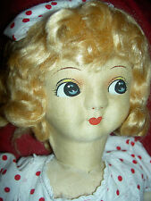 "Large 24"" antique cloth boudoir, bed doll, googly side-glancing eyes, mohair wig"