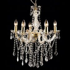 GOLD CHANDELIER Marie Therese Allure 5 Light Crystals Vintage Bedroom Living NEW