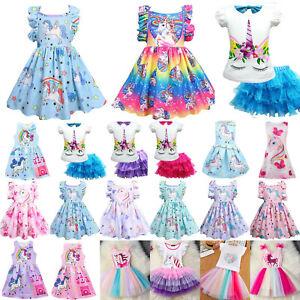 Kinder Einhorn Tutu Kleid Prinzessin Mädchen Party Kleider Sommerkleid Kleidung'