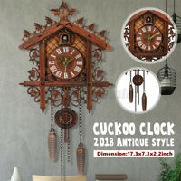 Style Vintage Wood Cuckoo Clock Forest House Swing Wall Handcraft Room Decor