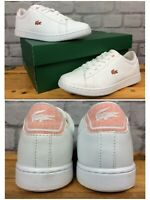 LACOSTE UK 4 EU 37 CARNABY EVO WHITE CORAL ORANGE TRAINERS RRP £65