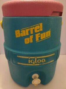 "Vintage Summer Igloo ""Barrel of Fun"" 2 Gallon Cooler Retro 90s Pink Teal Yellow"