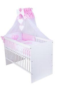 Babybett T1 mit 10-tlg Komplett-Set Bettwäsche Matratze Nestchen Herzchen rosa