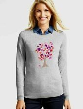 TALBOTS BLOOMING HEARTS TREE SIDE BUTTON SWEATER NWOT! $79 L