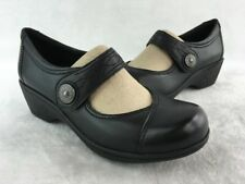 Aravon Hillary Black Synthetic Slip Resistant Mary Jane Wedge Size 7D  D1349/