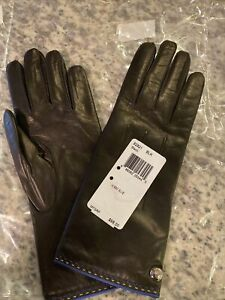 NWT COACH Women's Cashmere Lined Black Leather Gloves size 6.5 / 82821 $108