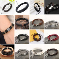 Unisex Fashion Retro Multilayer Leather Wristband Bracelet Cuff Bangle Men Wome