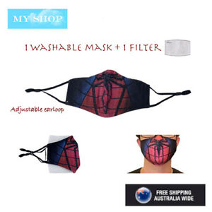 Teenage Adult Pollution Dust Protection Washable Face Mask w/1 Filter -Spiderman