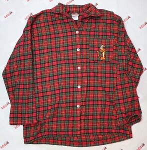 Disney Tigger Shirt Men's Large Red Long Sleeve Sleepwear