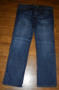 FENDER Relaxed Straight Flap Pockets Men's Blue Distressed Leather Jeans 36x33