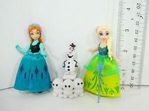 "DISNEY FROZEN Fever Doll Set Anna & Elsa 3"" Magiclip Polly Pocket Figure"