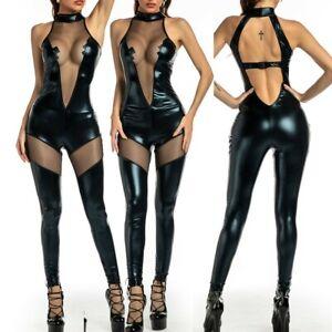 Womens Sheer Sexy PVC Wetlook Faux Leather Bodysuit Clubwear Costume Jumpsuit