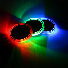 Universal 2Pcs Switchable 7 Color LED Car Cup Holder Bottom Pad Atmosphere Light