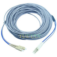 20M LC to SC Multi mode MM Duplex Indoor Armored  Fiber Optic Patch Cord Cable