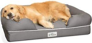 PetFusion Ultimate Solid WATERPROOF Memory Foam Premium Dog Bed - LARGE Slate