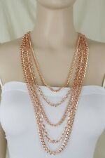 Women Fashion Jewelry Set Necklace Rose Gold Metal Chain Links 5 Long Strands