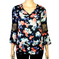 PLUS SIZE BLACK FLORAL PRINT BELL SLEEVE BLOUSE TOP Sizes 16 - 30
