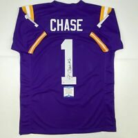 Autographed/Signed JA'MARR CHASE LSU Purple College Jersey Beckett BAS COA Auto